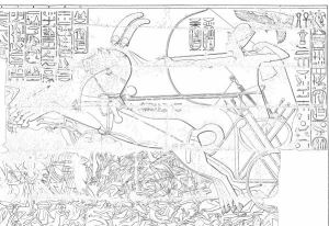 Line drawing of a relief where pharaoh with a falcon overhead draws his bow as his two-horse chariot tramples he fallen or fleeing enemy