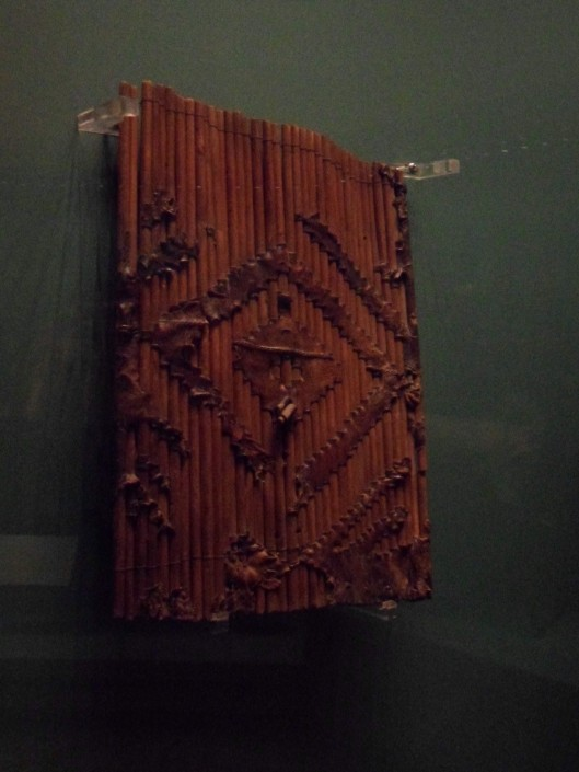 A photo of a shield of sticks and leather as above