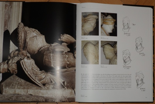 A photo of an open book with a photo of a statue of a recumbent man in armour on the verso and a group of pencil sketches, four photos of details, and a paragraph of commentary on the recto opposite