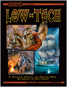 Cover of GURPS 4th Edition Low-Tech illustrated with Greek hoplites in combat, a First Nations man in bearskin cloak standing in front of a fire with a spear, and an eighteenth-century ship firing a broadside