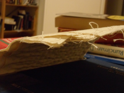 A view facing the concavity of the patch from the height of the cover of the second book.
