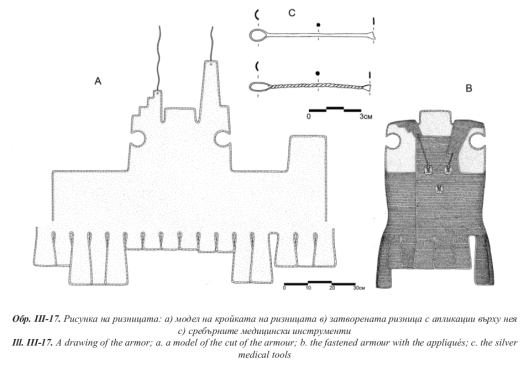 A sketch of the armour spread out flat, and a sketch of the armour tied shut around an invisible body