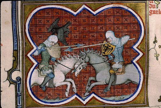 A painting of two knights jousting.  The back of one is visible showing that his body armour folds under the armpits and buckles up the spine.