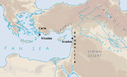 A relief map of the eastern Mediterranean showing Rhodes off the southwest coast of Turkey (ancient Caria) and Arados off the coast of Syria opposite Cyprus