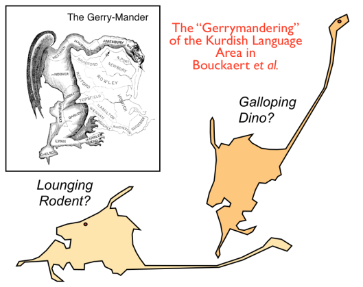 A diagram of electoral districts parodied as a mishapen monster, and a map of 'Kurdish-speaking regions' compared to a lounging rodent or galloping dino