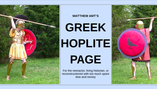 Screenshot of a website with a title flanked by two photos of hoplites