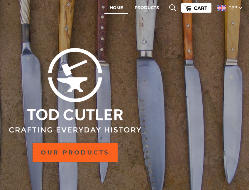An online store with an image of a row of knives in the background, a series of icons at the top, and a large orange button labeled OUR PRODUCTS in the centre.  Clicking this button does nothing unless ten third-party Javascript libraries are enabled.