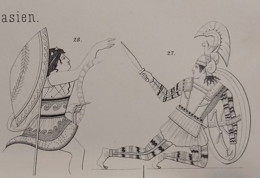 Two neoclassical drawings of ancient warriors, one fallen with a round shield on his arm holding up a short sword. He wears a so-called tube-and-yoke, Jarva type IV, or shoulder flap cuirass.