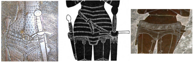 A picture of three engraved brasses showing the sword belts of knights. All of the swords hang upright, one from a hip belt, one from a belt which wraps around a high waist at the right to a low hip on the left, and one from two short angled straps attached to a hip belt
