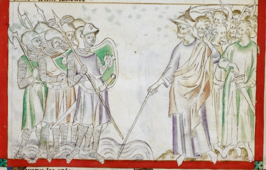 A group of soldiers in full suits of mail with bascinets and kettle hats and lances or axes and shields in their hands are standing in water on the left. A group of men in pseuydo-antique robes, one of them with a Jewish hat and the rest bare-headed, hold swords and axes and stand on land on the right