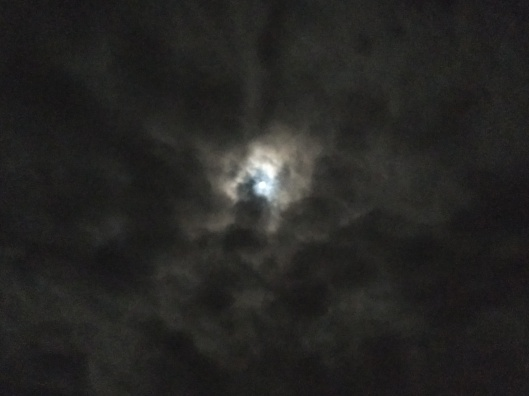 A full moon in a cloudy gray sky