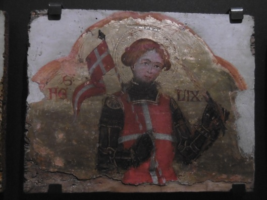 St. Felix in the armour of roughly 1400 with a red surcoat with a white cross on it