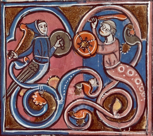 two monsters with serpentine lower bodies fighting with clubs and bucklers