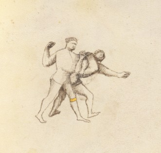 two wrestlers, one behind the other and locking the other's right arm behind his back with his left