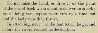 """A quote from a 19th century book """"In attacking, never let the foot touch the ground before the sword reaches its destination"""""""